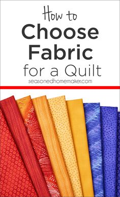 Sewing Quilts If you struggle when choosing fabrics for your next quilt, I have some answers. Learn how to choose fabrics for a quilt. - Learn how to choose fabrics for a quilt. Quilting Tools, Quilting Tutorials, Quilting Projects, Sewing Projects, Quilting Fabric, Quilting Ideas, Sewing Tips, Modern Quilting, Sewing Ideas