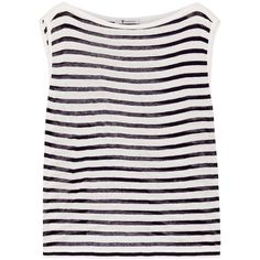 T by Alexander Wang Striped jersey tank (¥8,345) ❤ liked on Polyvore featuring tops, tank tops, shirts, blusas, ivory, boat neck shirt, striped shirt, nautical stripe shirt, jersey tank and striped boatneck shirt