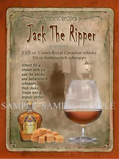 Jack The Ripper Cocktail is part of food_drink - 0 Heavy Aluminium Metal Sign Rounded Corners Punched Holes Ready To Hang Made In The Uk Free Standard UK Postage On Orders Over 00 Liquor Drinks, Whiskey Drinks, Non Alcoholic Drinks, Cocktail Drinks, Cocktail Recipes, Beverages, Rob Roy Cocktail, Spiced Rum Drinks, Disney Cocktails