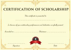 blank scholarship certificate template