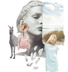 Mix of tenderness..and unicorn ☆ #collage #myart #tender #unicorn #pink #bomber #crystals #lightblue #shortdress #beach #creation #mixing #myideas #pleasureofhandmaking