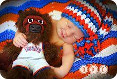 Newborn Baby Boy Photo Prop OKC Thunder Hat by MitziKnitz on Etsy, $25.00