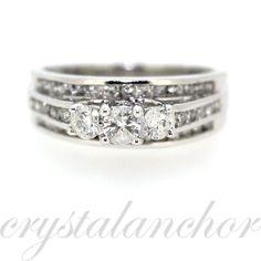 Estate 10k White Gold Natural Diamond Wedding Engagement ring band 1.00ctw by crystalanchor on Etsy