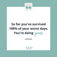 We all have bad days, but always remember you have made it through your worst days before and you will make it through them again. 👊🏼   No matter how tough it feels at the time, there is always light at the end of the tunnel.  You are still crushing it, even on the tough days. 💪🏼   Like if you know you're doing great! 👍🏼   ➡️ www.threesixfiveplus.com ⬅️