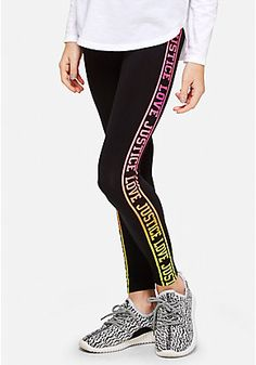 a16cc7136fc15 Ombre Logo Stripe Leggings Justice Clothing, Striped Leggings, Tween Girls,  Zip Ups,