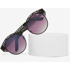 Quay Pippa Cutout Shades ($48) ❤ liked on Polyvore featuring accessories, eyewear, sunglasses, black, oakley sunglasses, metal sunglasses, uv protection sunglasses, black sunglasses and fake glasses