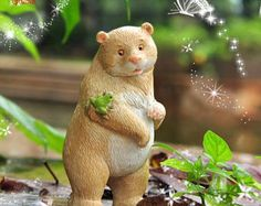 Bears Family Series , Brown Bear Look at Friend Frog , Fairy Miniature Decorate Mini Garden Supplies Succulent Terraium DIY Accessories