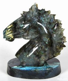 Labradorite Crystal Horse Head & Stand