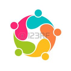 Team 5 community circle interlaced.Concept group of connected people Stock Vector - 37357021