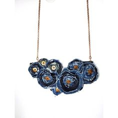 Jeans Necklace, Blue Flower Necklace, Repurposed Recycled Upcycled,... (155 ILS) ❤ liked on Polyvore featuring jewelry, necklaces, flower jewellery, statement necklace, blue jewelry, bib necklaces and denim necklace