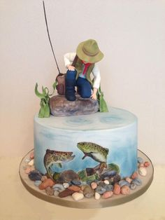 Fish cake by tomima Best Picture For Cake Design videos For Your Taste You are looking for something, and it is going to tell you exactly what you are looking for, and you didn't find tha Fish Cake Birthday, Birthday Cakes For Men, Fishing Birthday Cakes, Birthday Cupcakes, Baby Birthday, Birthday Ideas, Fisherman Cake, Dad Cake, Hand Painted Cakes