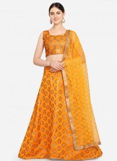 Mustard Jacquard Weaving A Line Lehenga Choli Banarasi Lehenga, Ghagra Choli, Saree, Bridal Lehenga Online, Lehenga Choli Online, Yellow Lehenga, Yellow Fabric, Jacquard Weave, How To Dye Fabric