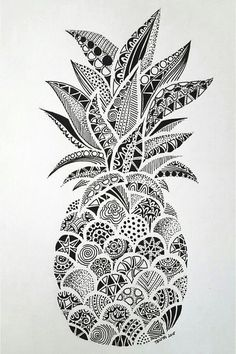 Drawings – Zentangle art – Doodle art – Pineapple art – Doodle drawings – Art drawings – The p Doodle Art Drawing, Zentangle Drawings, Art Drawings Sketches, Drawing Drawing, Doodles Zentangles, Drawing Tips, Zentangle Art Ideas, Easy Mandala Drawing, Easy Zentangle Patterns