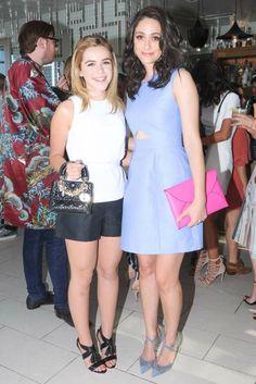 Kiernan Shipka and Emmy Rossum, both in Kate Spade Saturday. [Photo by Owen Kolasinski/BFAnyc. com]