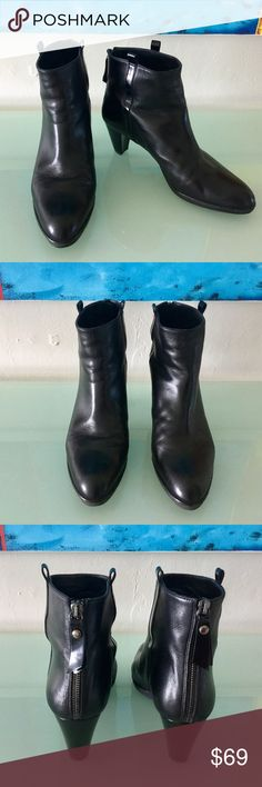 """Stuart Weizman Leather Boots 9.5 M Made in Spain Everyone knows the fine craftsmanship and sinfully soft leather of Stuart Weitzman boots, now they can be yours for a tiny fraction of the $425 retail price. Made in Spain, boots are in excellent condition and show very little wear. Black leather, rubber soles, back zipper. Size 9.5 M. Heels are 3"""" at highest point, boot shaft is 6"""" tall. Check out prices of similar boots on the designer's own website and you'll see what a deal these are…"""