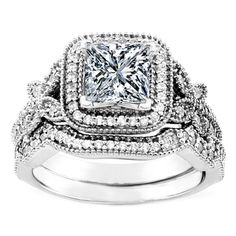 Vintage Style Princess Diamond Halo Butterfly Engagement Ring and Wrap Wedding Band- Incredible!!!!