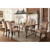 Homelegance 2555-84-Set1 Derry 7Pcs Rustic Oak Dining Table Set