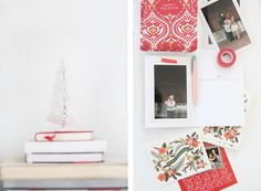 holiday greeting cards with a washi-taped photo // pencil box