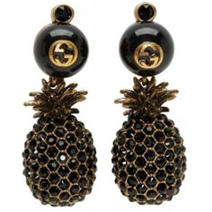 Gucci Gold and Black Pineapple Pearl Earrings (£460) ❤ liked on Polyvore featuring jewelry, earrings, accessories, gold, stud drop earrings, black and gold stud earrings, white pearl stud earrings, pearl drop earrings and stud earrings