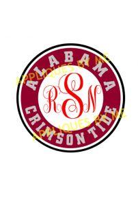 Alabama Crimson Tide Circle For Monogram Cut Design