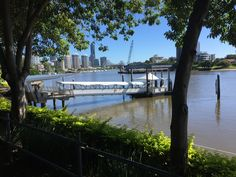 Brisbane CBD viewed from the Brisbane River  at Mowbray Park Ferry Wharf. A beautiful Autumn morning.