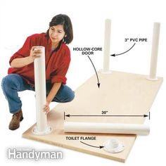 "How to Build a lightduty work surface- hollow-core door, 4 toilet flanges, 10 feet 3"" PVC pipe, 16-#10 1 1/4"" screws, & a tube of construction adhesive. (30"" long PVC legs.)"