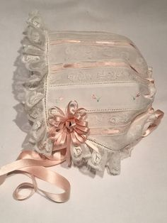Maline Lace Bonnet by Miss Belle Studio $135 Kleidung Design, Bonnet Pattern, Christening Gowns, Baptism Gown, Baby Bonnets, Linens And Lace, Heirloom Sewing, Baby Sewing, Beaded Lace