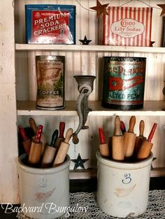Tins and Rolling Pins ~ displayed in a hutch