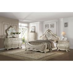 Blending the classic aesthetic of traditional design is the Opera bedroom collection. The nod to Old World styling comes in elements such as floral crown molding, shell motifs and upholstered headboard with foot board, this bedroom collection goes above a Discount Furniture, Furniture, Discount Furniture Stores, Traditional Bed, Furniture Store, White Bedroom Furniture, Victorian Bedroom Furniture, Beautiful Dresser, Acme Furniture