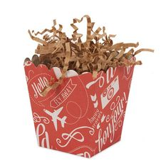 Going away parties can be sweetened up with the Bon Voyage Mini Popcorn Box. It is just the right size for guests to carry with them as they say their goodbyes.