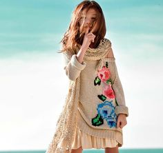 Twin-set girl summer 2013 stunning oversized floral knitwear and openwork shawls