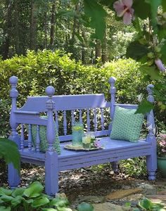 Turning a Craig's List Bed Frame into a Garden Bench - Pretty Handy Girl