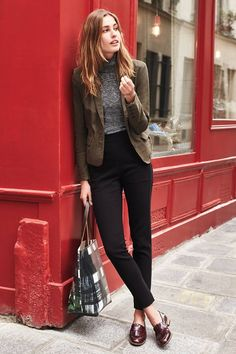 skinny black trousers, oxblood brogues, grey top and brown blazer. Preppy cool.