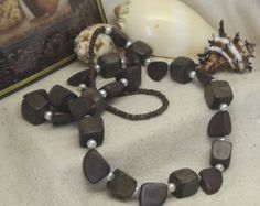 "Check out Vintage 36""  Infinity Statement Necklace,Chunky Dark Brown Wood Beads, Various Size Beads,Acrylic White Pearl,VJ2025N on ckdesignsforyou"