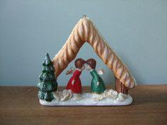 Vintage Christmas Decoration Kissing Angels by jessamyjay on Etsy.
