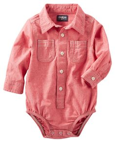 Baby Boy 2-Pocket Chambray Button-Front Bodysuit | OshKosh.com