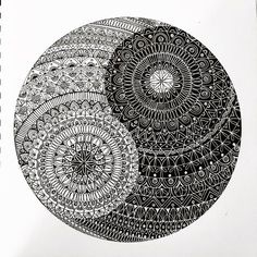 Ying yang by mehermeher on deviantart art work, mandala, decorative plates, Mandala Art Lesson, Mandala Artwork, Mandalas Painting, Mandalas Drawing, Madhubani Painting, Doodle Art Drawing, Zentangle Drawings, Art Drawings Sketches, Zentangles