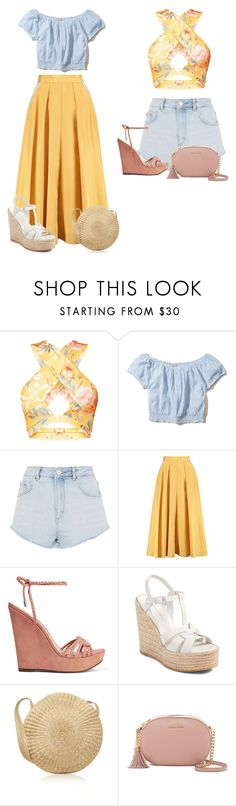 """""""Untitled #308"""" by mkk-18 ❤ liked on Polyvore featuring Hollister Co., Topshop, Roksanda, Schutz, Yves Saint Laurent and MICHAEL Michael Kors"""
