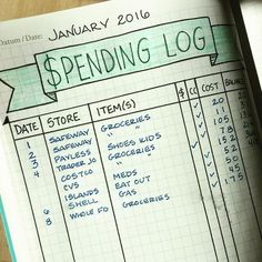 An easy monthly version of a spending log in the bullet journal!