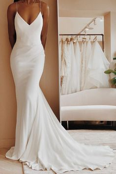 Long Ivory Satin Spaghetti Strap V-Neck Mermaid Formal Dress With Sweep Train fr. - Long Ivory Satin Spaghetti Strap V-Neck Mermaid Formal Dress With Sweep Train from Queenparty – Sexy Formal Dresses – Source by hochpino - African Wedding Dress, Wedding Dresses For Girls, Girls Dresses, Prom Dresses, Sexy Dresses, Summer Dresses, Dress Prom, Venus Wedding Dresses, Lace Dresses