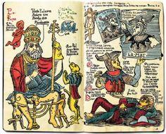 """Fac-símile incluído na caixa """"Sketchbooks"""", de Lourenço Mutarelli, que reúne caricaturas, histórias inacabadas, autorretratos, colagens e exercícios arrojados, como as versões anárquicas de iluminuras medievais reproduzidas acima / Divulgação - desenhos de Lourenço Mutarelli"""