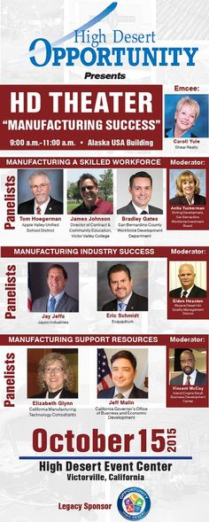 """Don't miss this great event coming up soon in the #HighDesert! We'll be there to chat with you about #financing your #smallbusiness goals. This manufacturing event is happening in the morning, but be sure to stay around all day! Don't miss keynote speaker, Bill Rancic, season 1 winner of """"The Apprentice"""" that day as well. Questions about the event? Call Gwen Bedics, our representative in the #HighDesert at (760) 646-5005"""