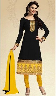 Black Color Chanderi Silk Straight Cut Churidar Kameez with Dupatta…