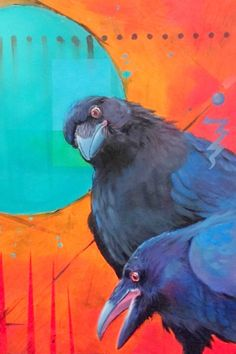Oil paintings of Ravens and Crows by award winning Native American artist Karen Clarkson. Crows Drawing, Painting & Drawing, Encaustic Painting, Illustrations, Illustration Art, Raven Bird, Crow Art, Street Art, Bird Artwork