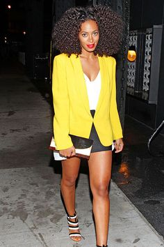 solange fashion - love her blazer that yellow is perfect