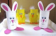 7 Cute Easter Paper Crafts You Will Absolutely Love!: Easter Treat Holders From Cardboard Tubes 7 Cute Easter Paper Crafts You Will Absolutely Love!: Easter Treat Holders From Cardboard Tubes Easter Crafts For Toddlers, Easy Easter Crafts, Bunny Crafts, Easter Crafts For Kids, Toddler Crafts, Toilet Paper Roll Crafts, Cardboard Crafts, Paper Crafts, Cardboard Tubes