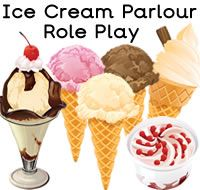 Ice Cream Parlour Role Play Resources with resources like ice cream palour opening times, clock, signs, prices, basket signs, worksheets, menu, ice cream  and lollipop toppings and flavours, order pad, shopping list, ice cream display lettering, themed borders and much more. For more of these resources please check out our site.