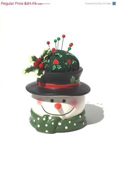 ON SALE Christmas Pincushion  Holly & Berry by Donellensvintage