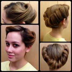 The victory roll how to.my hair is to long and heavy.my grama wore her hair this way. Retro Hairstyles, Wedding Hairstyles, Graduation Hairstyles, Classic Hairstyles, Simple Hairstyles, Formal Hairstyles, 1940s Hairstyles For Long Hair, Long Haircuts, Latest Hairstyles