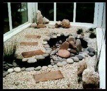 Jardin Zen con arroyo y cascada en interior